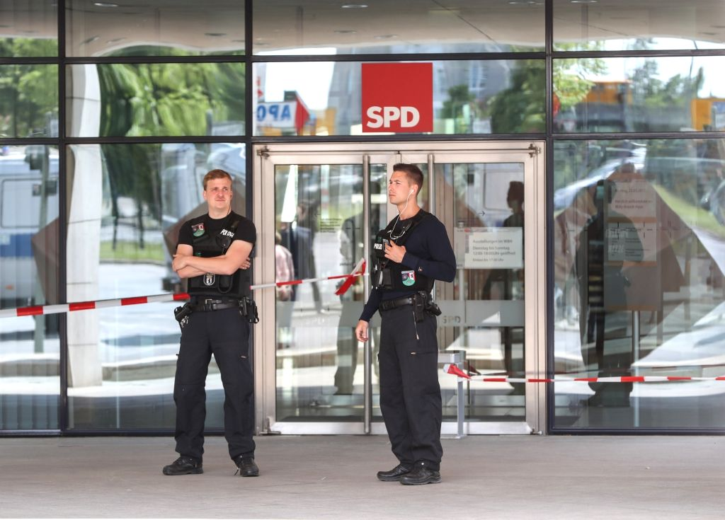 BERLIN, May 22, 2017 - Two policemen stand guard in front of the headquaters of Germany's Social Democratic Party in Berlin, capital of Germany, on May 22, 2017. The headquarters of the Social ...
