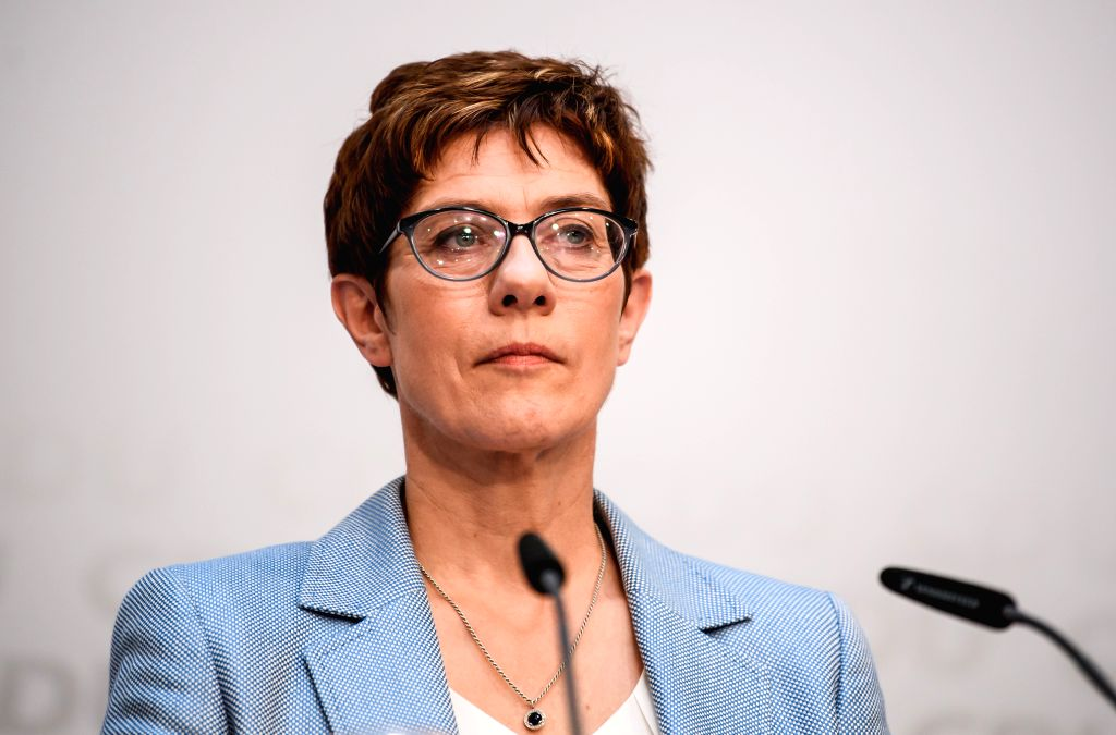 BERLIN, May 26, 2019 - Christian Democratic Union (CDU) leader Annegret Kramp-Karrenbauer attends a press conference at the CDU headquarters in Berlin, capital of Germany, on May 26, 2019. German ...