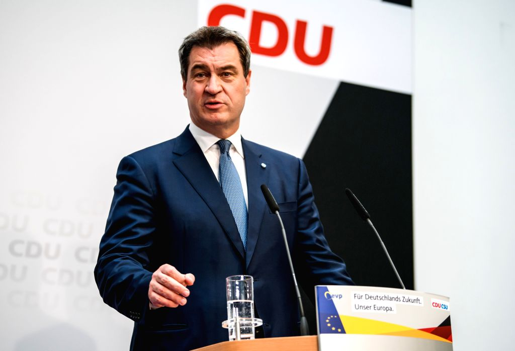 BERLIN, May 26, 2019 - Christian Social Union (CSU) leader Markus Soeder attends a press conference at the headquarters of German Christian Democratic Union (CDU) in Berlin, capital of Germany, on ...