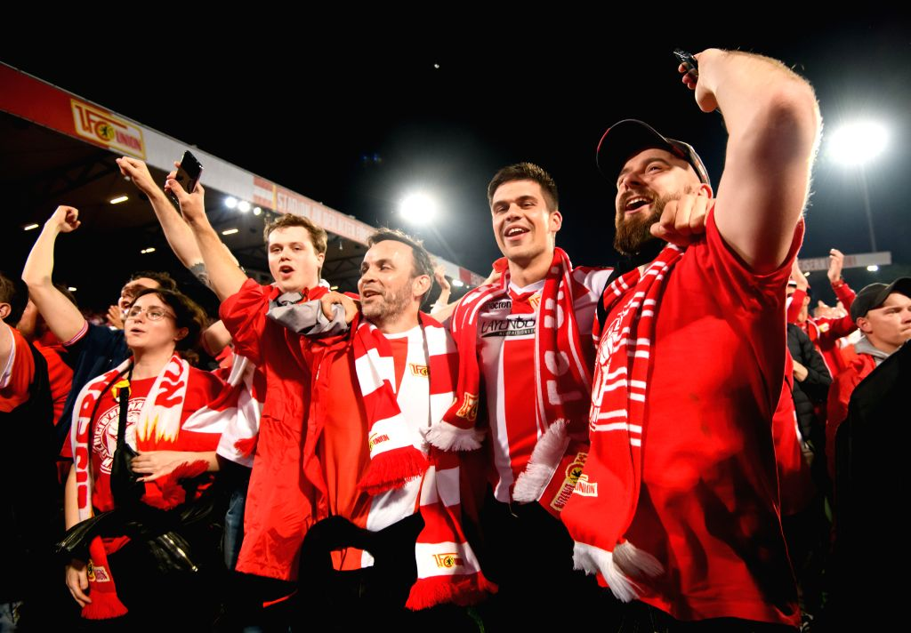 BERLIN, May 28, 2019 - Union Berlin's fans celebrate after the second leg match of Bundesliga relegation play-off between 1.FC Union Berlin and VfB Stuttgart in Berlin, capital of Germany, on May 27, ...