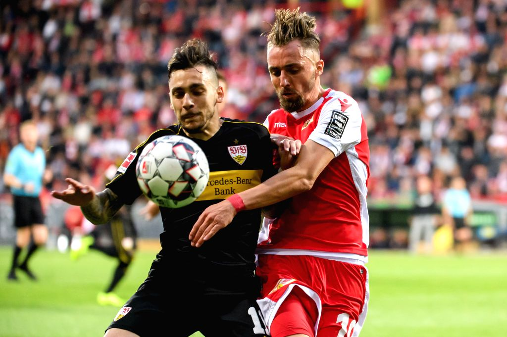 BERLIN, May 28, 2019 - Union Berlin's Florian Huebner (R) vies with Stuttgart's Anastasios Donis during the second leg match of Bundesliga relegation play-off between 1.FC Union Berlin and VfB ...