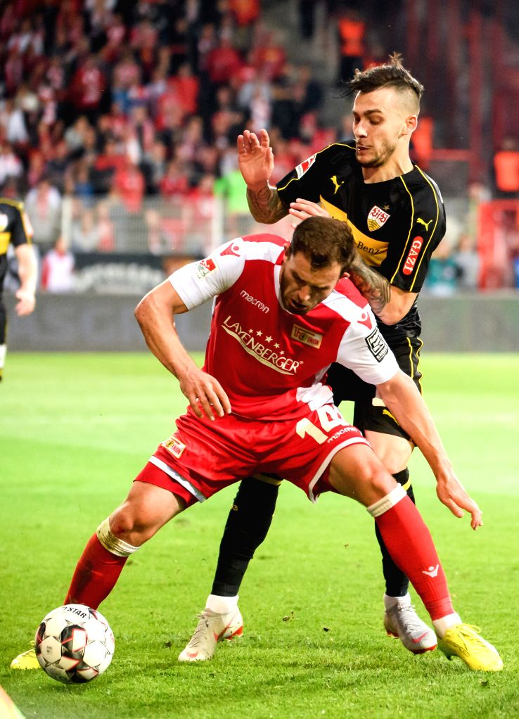 BERLIN, May 28, 2019 - Union Berlin's Ken Reichel (Bottom) vies with Stuttgart's Anastasios Donis during the second leg match of Bundesliga relegation play-off between 1.FC Union Berlin and VfB ...