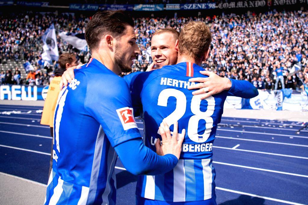 BERLIN, May 5, 2019 - Hertha's Ondrej Duda (C) celebrates with Mathew Leckie (L) and Fabian Lustenberger during a German Bundesliga match between Hertha BSC and VfB Stuttgart in Berlin, Germany, on ...