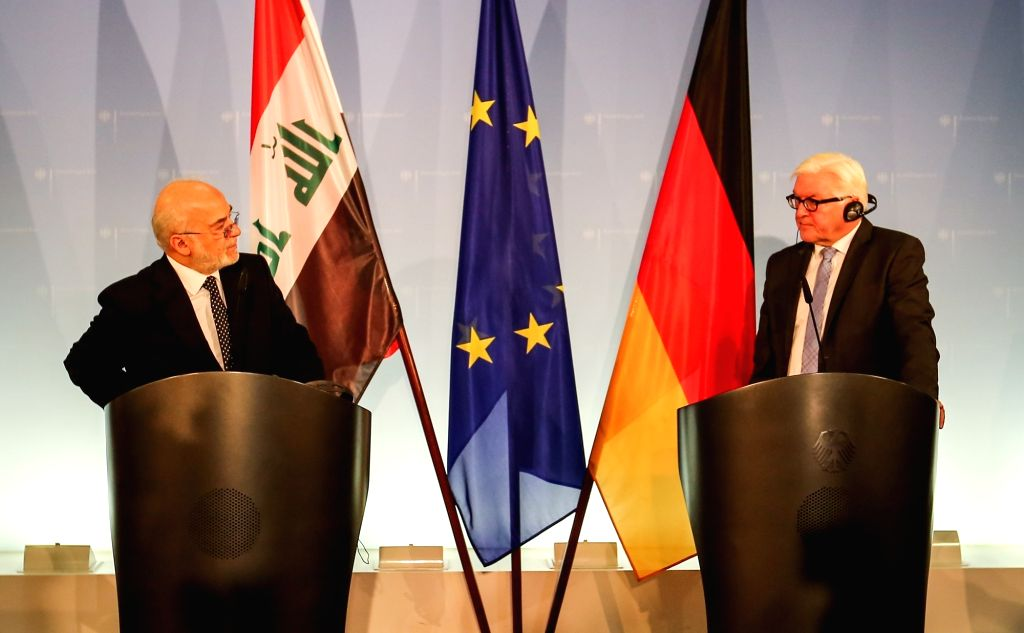BERLIN, Nov. 21, 2016 - German Foreign Minister Frank-Walter Steinmeier (R) and his visiting Iraqi counterpart Ibrahim al-Jaafari attend a press conference after their meeting in Berlin, capital of ... - Frank-Walter Steinmeier