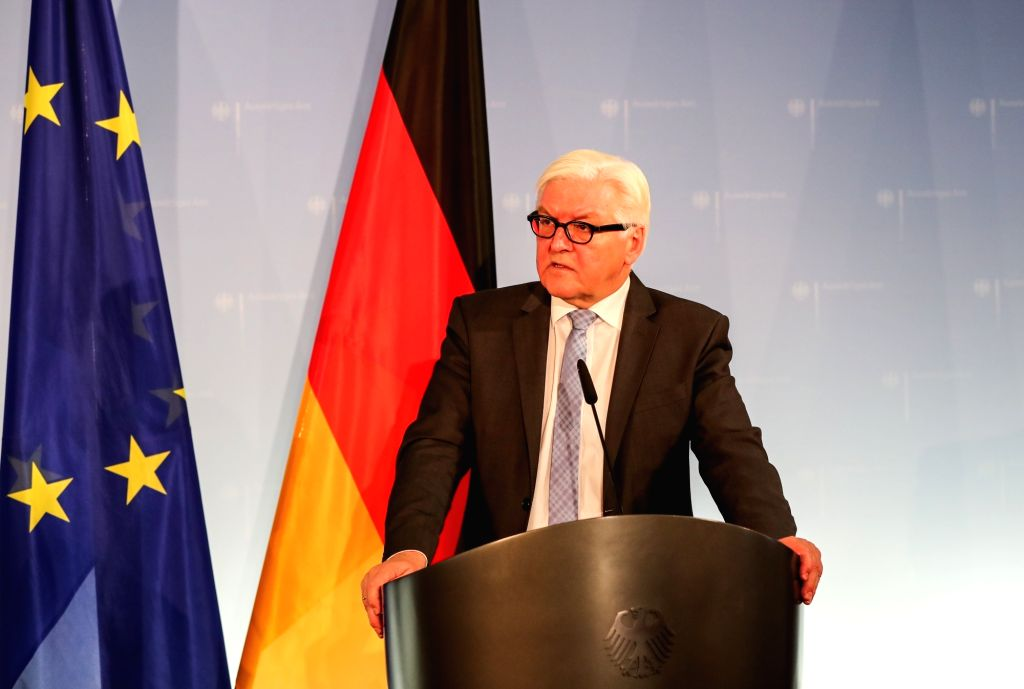 BERLIN, Nov. 21, 2016 - German Foreign Minister Frank-Walter Steinmeier attends a press conference with his visiting Iraqi counterpart Ibrahim al-Jaafari after their meeting in Berlin, capital of ... - Frank-Walter Steinmeier