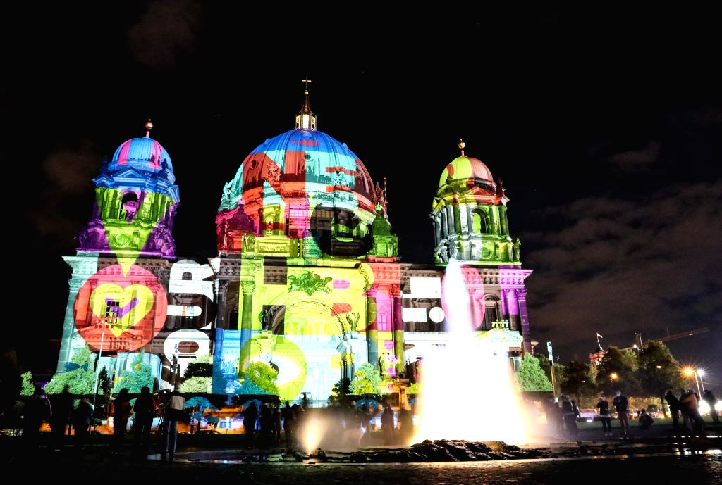 BERLIN, Oct. 8, 2016 - Berlin Cathedral is illuminated during the Festival of Lights in Berlin, capital of Germany, on Oct. 7, 2016. Berlin turned into a city of light art with the opening of its ...