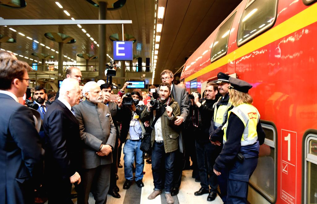 Prime Minister Narendra Modi take a stock of Railway Modernisation, during his visit to Hauptbahnhof Railway Station, in Berlin, Germany on April 14, 2015. - Narendra Modi