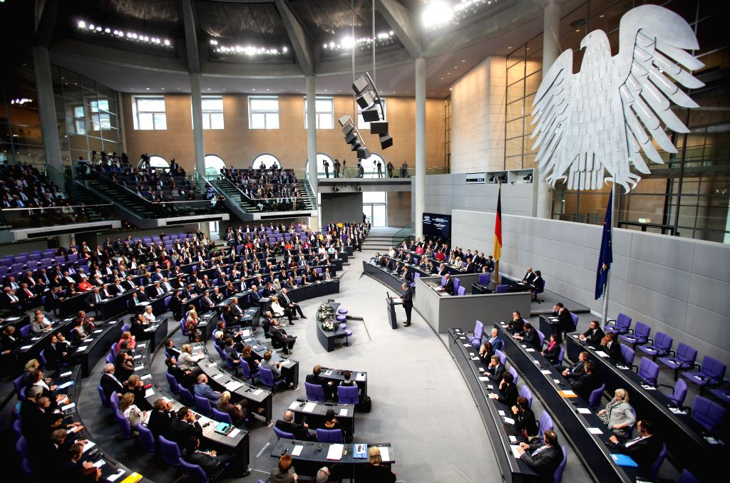 President of Poland Bronislaw Komorowski speaks during a memorial session for the 75th anniversary of the breaking of World War II at the Bundestag, the lower house
