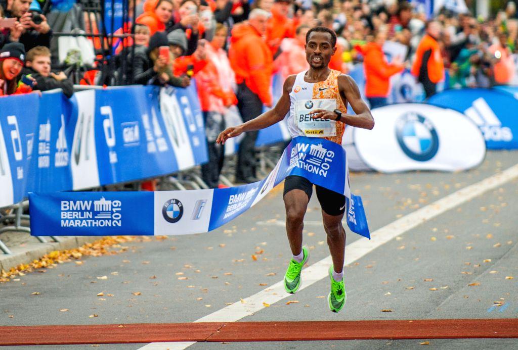 BERLIN, Sept. 29, 2019 - Kenenisa Bekele runs past the finish line during the Berlin Marathon 2019 in Berlin, capital of Germany, Sept. 29, 2019.