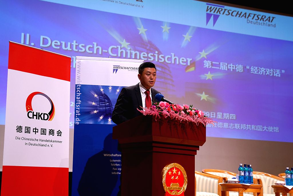 BERLIN, Sept. 30, 2016 - Cai Zhengxin, president of the Chinese Chamber of Commerce in Germany, speaks during the second Sino-German economic dialogue in Berlin, Germany, Sept. 29, 2016. Over 200 ...