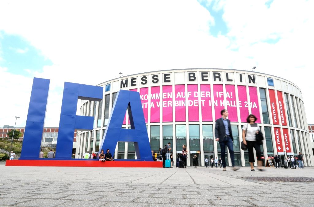 BERLIN, Sept. 5, 2018 - Photo taken on Sept. 5, 2018 shows the main entrance of the 2018 IFA consumer electronics fair in Berlin, capital of Germany. The IFA 2018, which attracted more than 245,000 ...