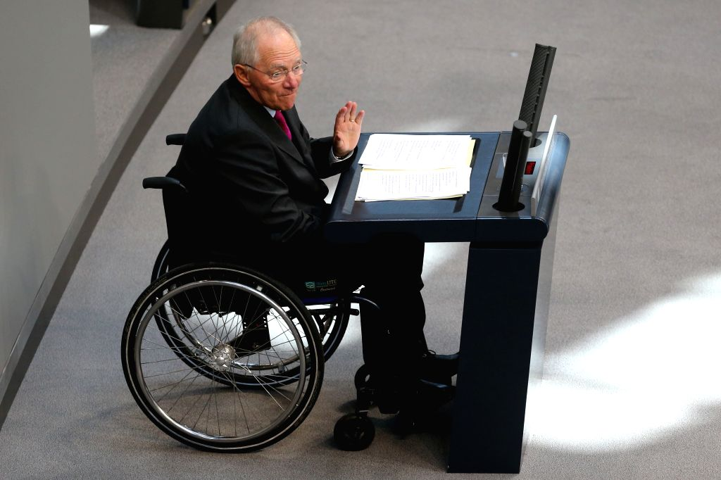 German Finance Minister Wolfgang Schaeuble speaks during a debate on the 2015 federal budget at the Bundestag, the lower house of parliament, in Berlin, Germany, on . - Wolfgang Schaeuble