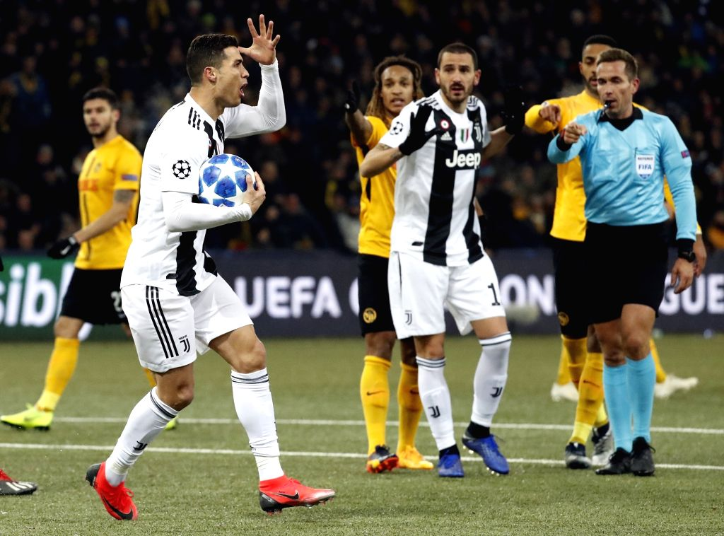 BERN, Dec. 13, 2018 - Cristiano Ronaldo (2nd L) of Juventus reacts during the UEFA Champions League Group H match between Young Boys and Juventus in Bern, Switzerland, Dec. 12, 2018. Juventus lost ...