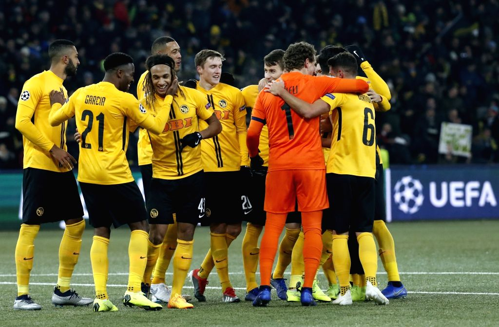 BERN, Dec. 13, 2018 - Players of Young Boys celebrate after the UEFA Champions League Group H match between Young Boys and Juventus in Bern, Switzerland, Dec. 12, 2018. Juventus lost 1-2.