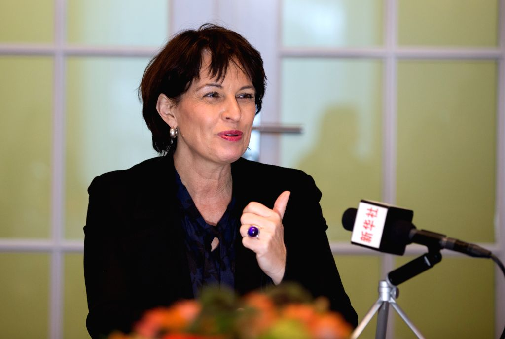 BERN, Jan. 14, 2017 - Swiss President Doris Leuthard speaks during an interview with Xinhua in Bern, Switzerland, on Jan. 12, 2017. Swiss President Doris Leuthard said Thursday that the upcoming ...