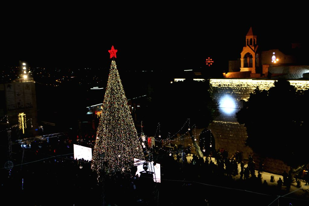 Mideast Bethlehem Christmas Tree Lighting