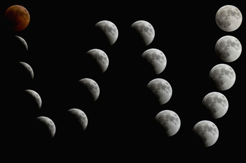 BETHLEHEM, July 28, 2018 - A multi-exposured image of the moon is seen during a lunar eclipse in the West Bank city of Bethlehem, July 27, 2018.