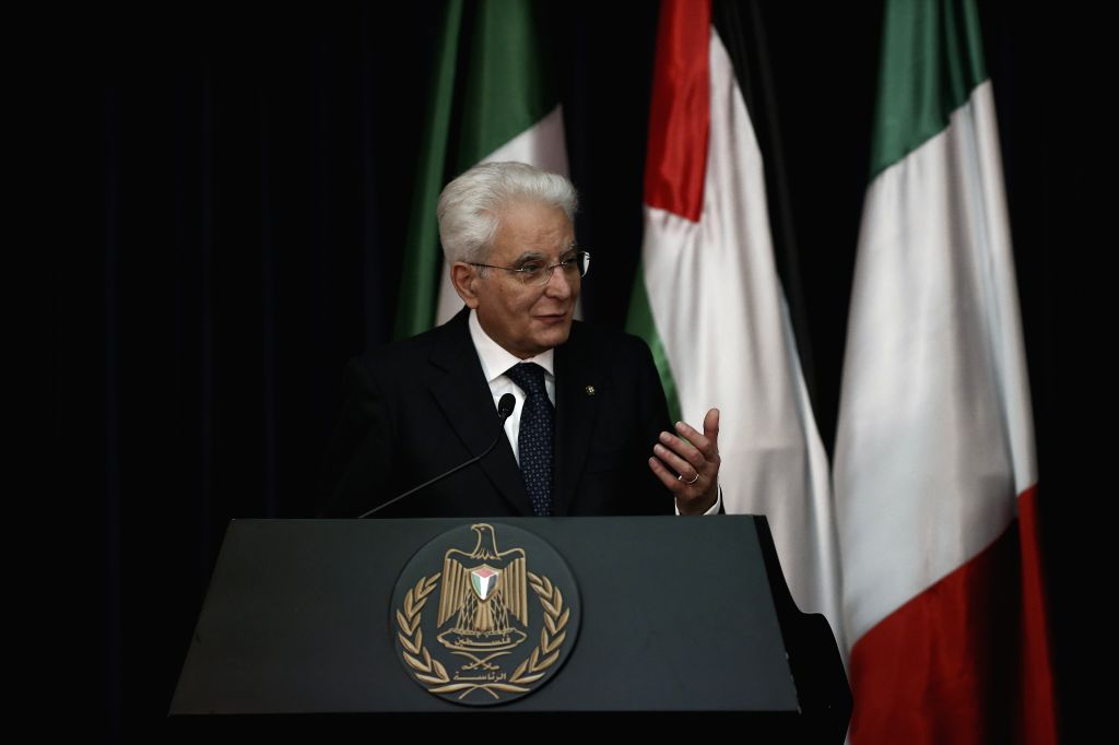 BETHLEHEM, Nov. 1, 2016 - Italian President Sergio Mattarella speaks at a joint press conference with Palestinian President Mahmoud Abbas (not seen in picture) in the West Bank city of Bethlehem, on ...