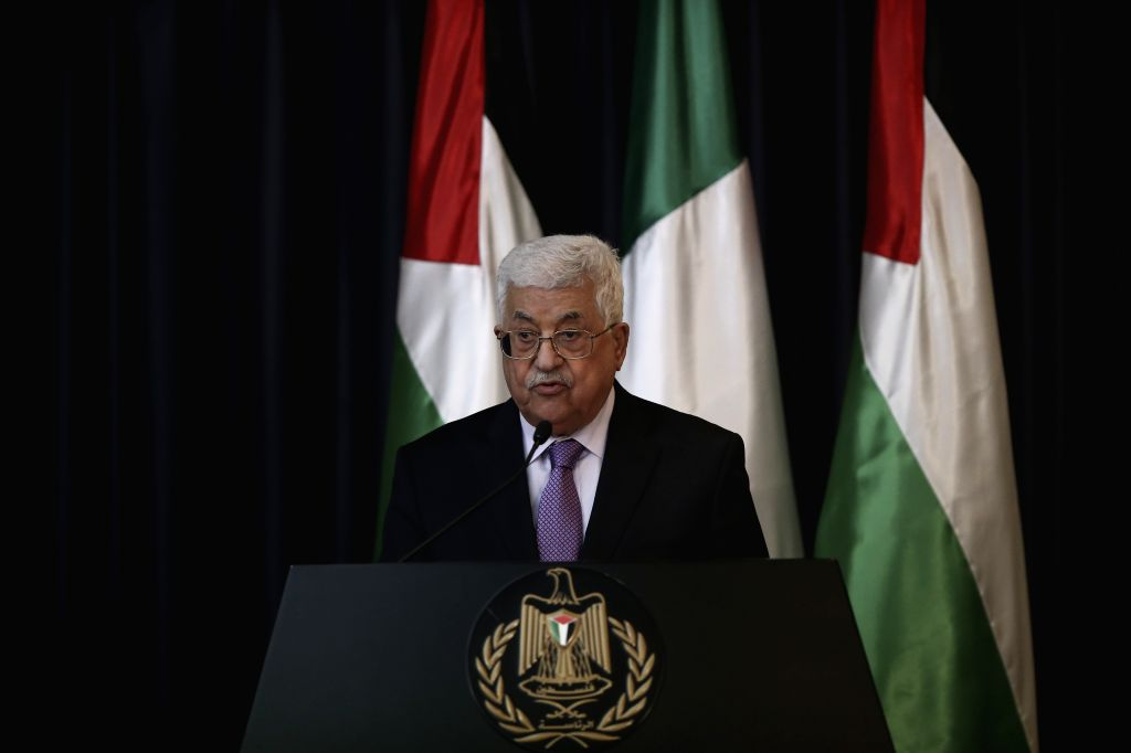 BETHLEHEM, Nov. 1, 2016 - Palestinian President Mahmoud Abbas speaks at a joint press conference with Italian President Sergio Mattarella (not seen in picture) in the West Bank city of Bethlehem, on ...