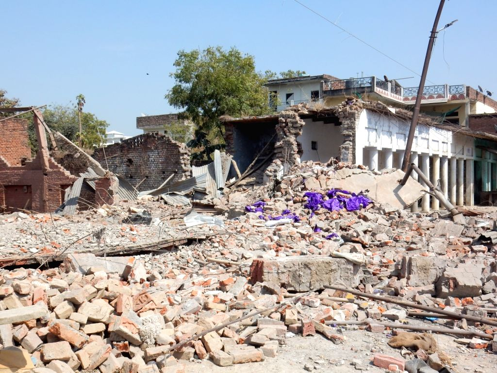 Bhadohi: The site where as many as 13 people were killed and a dozen others injured in a blast in Rothaan village of Uttar Pradesh's Bhadohi on Feb 23, 2019. (Photo: IANS)