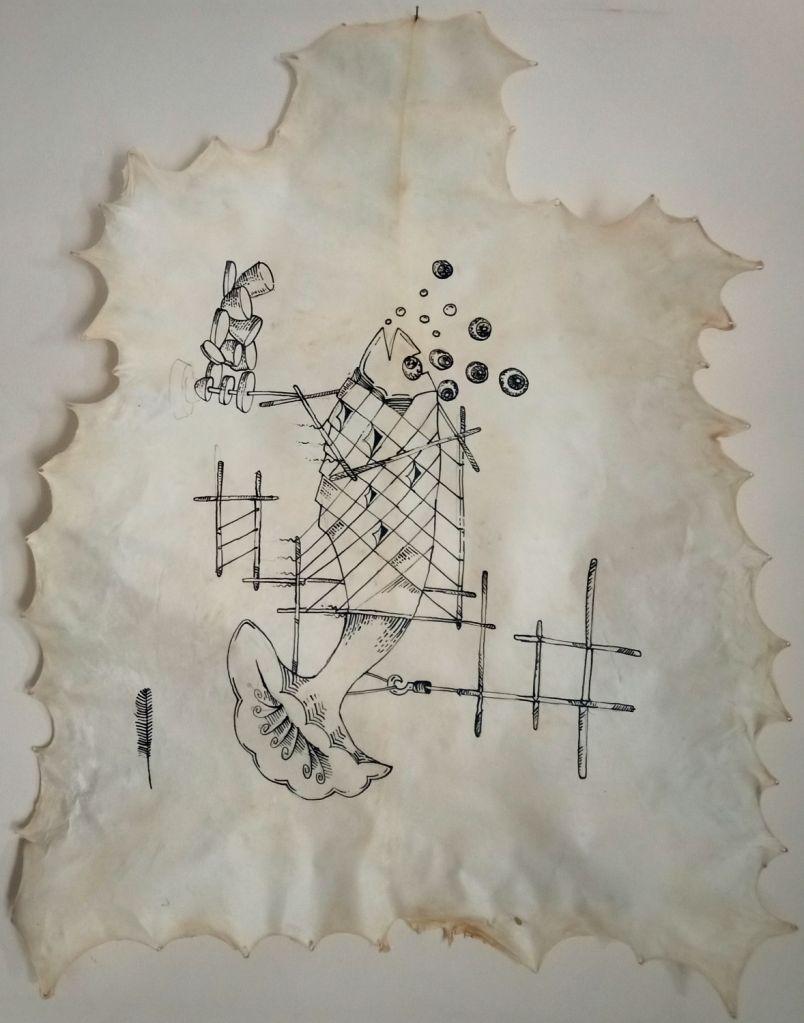 Bhagwati Prasad, Ascent (Begumpura-Ecologies), Ink drawing on goat hide, 122cm x 92 cm, 2020.