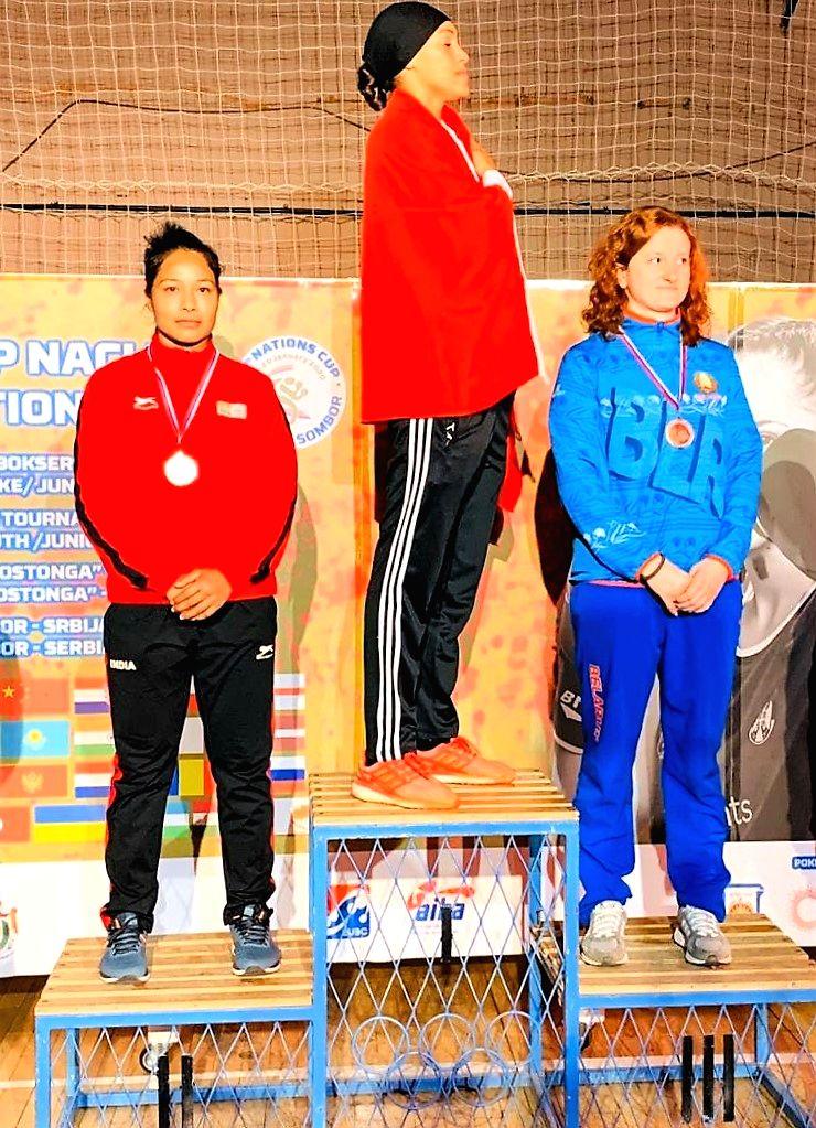 Bhagyabati Kachari won silver medal in 75 Kg category.