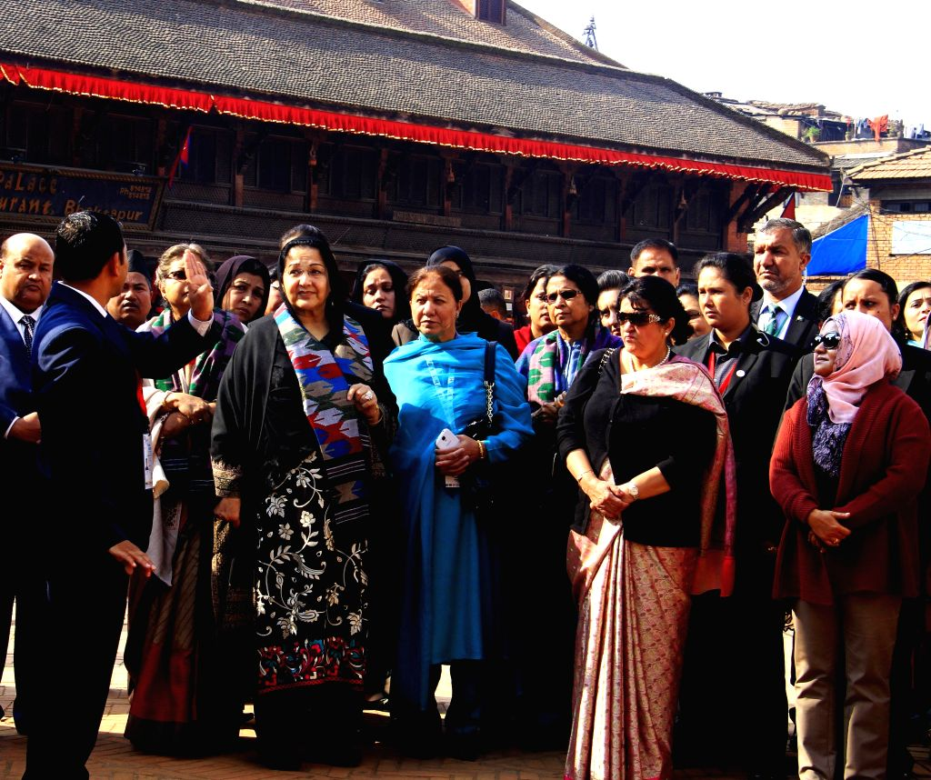 Bhaktapur (Nepal): First ladies of the South Asian Association for Regional Cooperation (SAARC) countries visit Nyata Pola Temple in Bhaktapur, Nepal, on Nov. 27, 2014.  (Xinhua/Sunil ...