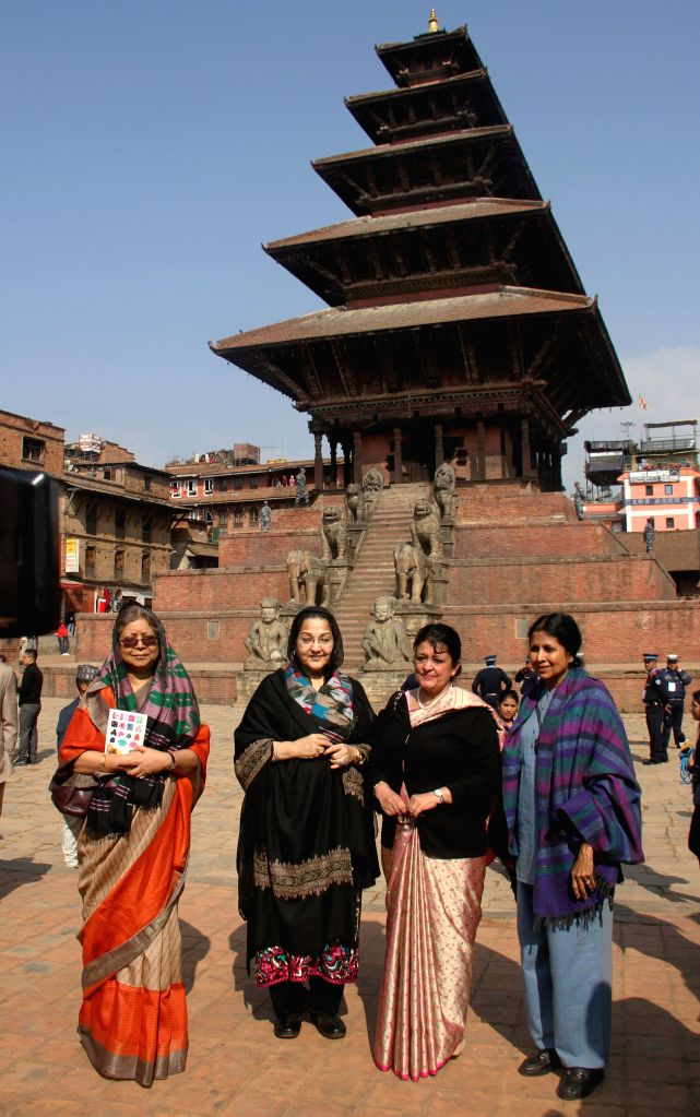 Bhaktapur (Nepal): First ladies of the South Asian Association for Regional Cooperation (SAARC) countries visit Nyata Pola Temple in Bhaktapur, Nepal, on Nov. 27, 2014.  ...