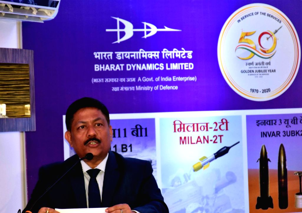 Bharat Dynamics Limited (BDL) Chairman and Managing Director Commodore Siddharth Mishra (Retd) addresses a press conference in Hyderabad on July 16, 2019. - Siddharth Mishra