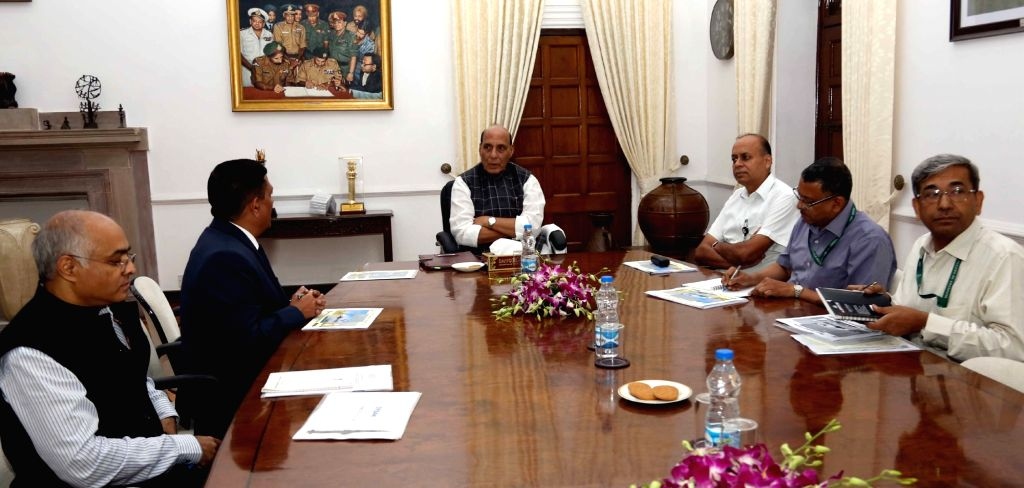 Bharat Dynamics Limited CMD Commodore Siddharth Mishra (Retd.) briefs Defence Minister Rajnath Singh on the issues pertaining to the Defence Public Sector Undertaking, in New Delhi on July ... - Rajnath Singh and Siddharth Mishra