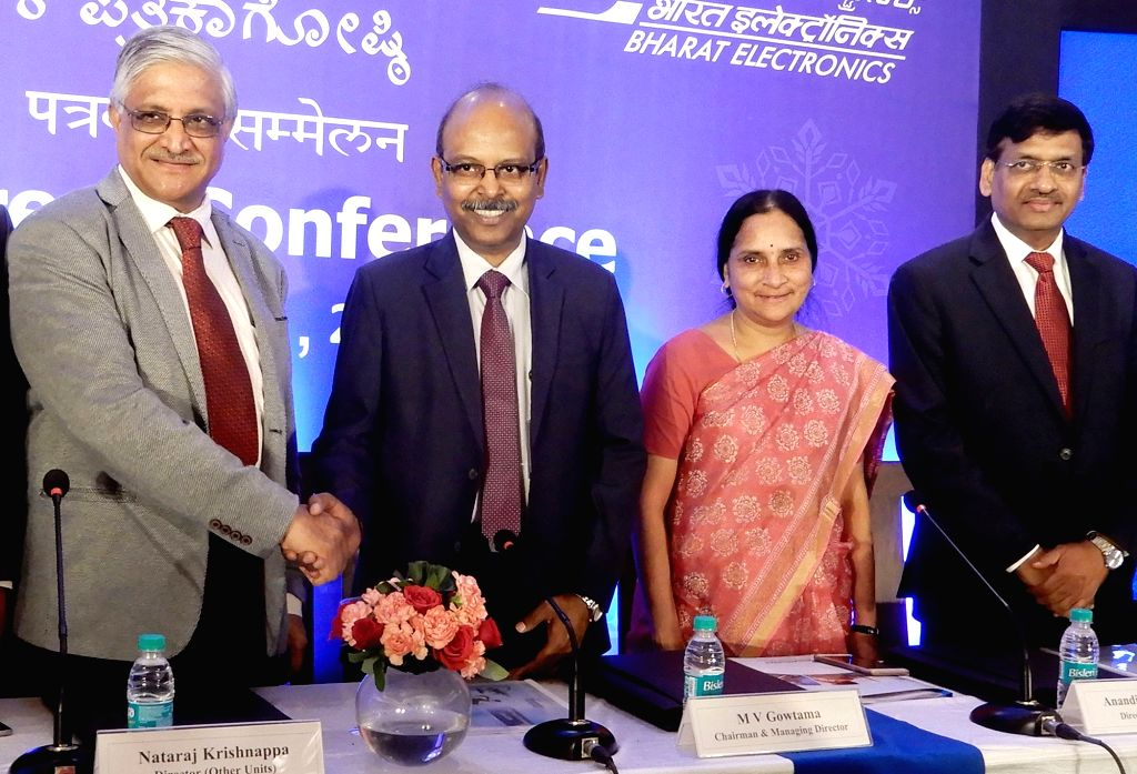 Bharat Electronics Ltd (BEL) MD and Chairman M.V. Gowtama, Director (Other Units) Nataraj Krishnappa and other dignitaries during a press conference in Bengaluru, on June 1, 2019.