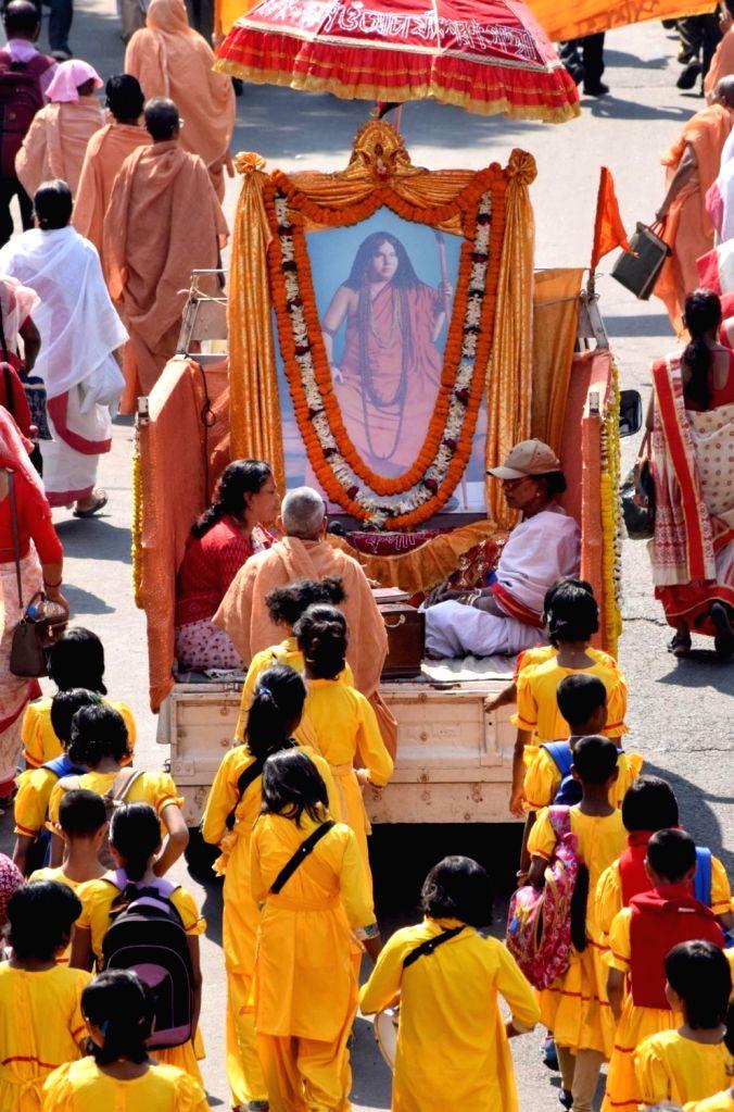 Bharat Sevashram Sangha procession underway on birthday anniversary of Swami Pranabanandaji Maharaj in Kolkata on March 2, 2019.