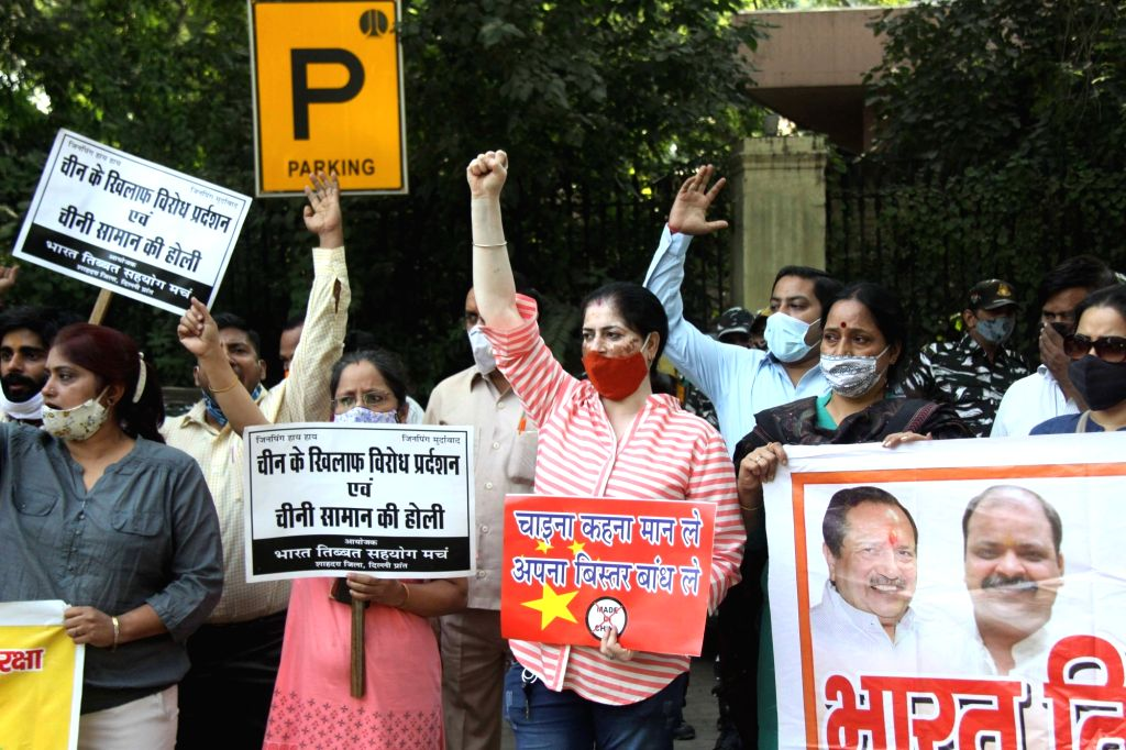Bharat Tibet Sahyog Manch stages a protest against China near the Chinese embassy on the 58th anniversary of the 1962 India-China war, in New Delhi on Oct 20, 2020. India was attacked on ...