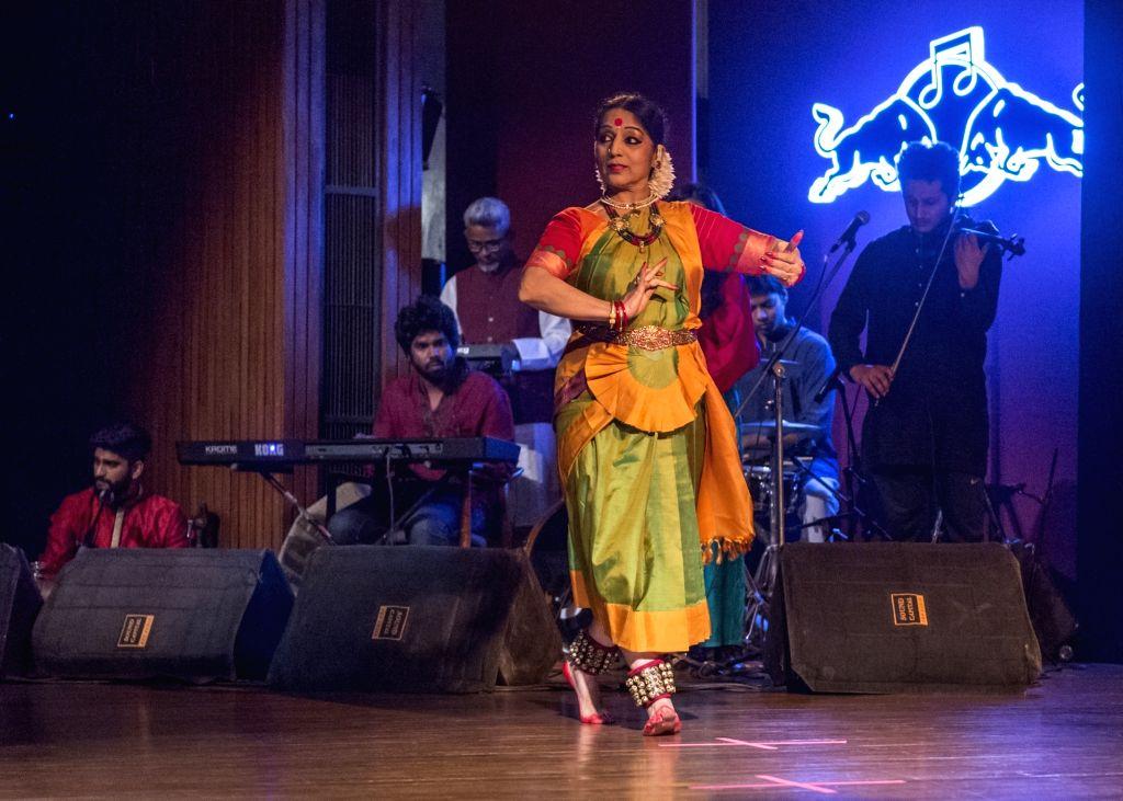 """:Bharatanatyam exponent Jayalakshmi Eshwar performs at """"Antariksha Sanchar"""". (Photo: Red Bull Music)."""