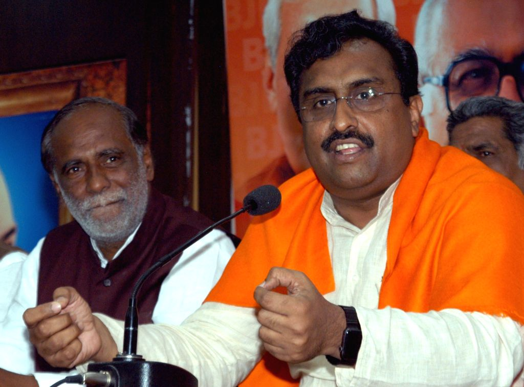 Bharatiya Janata Party (BJP) national general secretary Ram Madhav addresses a press conference in Hyderabad on Sept 18, 2017.