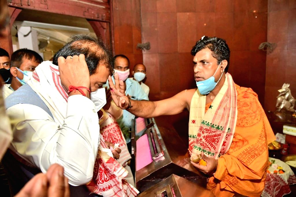 Bharatiya Janata Party leader Himanta Biswa Sarma who is set to be the next chief minister of Assam visited Kamakhya temple before the oath-taking ceremony in Guwahati On Monday, 10 May, ...