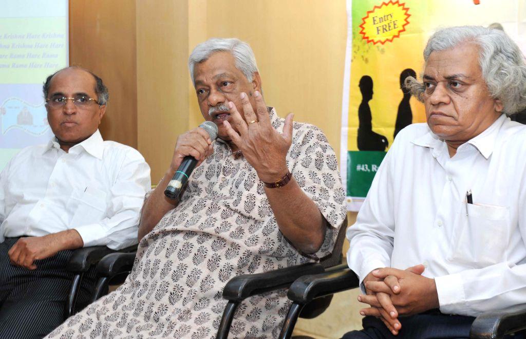 Bharatiya Vidya Bhavan Secretary K G Raghvan, Director of Bharatiya Vidya Bhavan HN Suresh and Dr S Ranganath during Upanishad Sandesha Conference organised at Bharatiya Vidya Bhavan in Bangalore on .