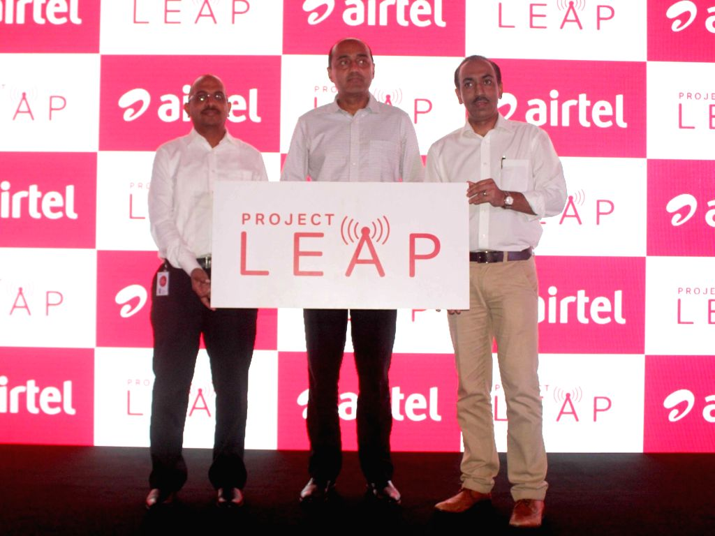 Bharti Airtel MD and CEO Gopal Vittal (C) during the launch of Airtel`s programme `Project Leap` in New Delhi on Nov 30, 2015.