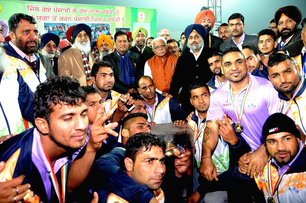 The Minister of State for Youth Affairs and Sports (Independent Charge), Sarbananda Sonowal, Haryana Chief Minister Manohar Lal Khattar, Punjab Chief Minister Prakash Singh Badal and Deputy - Manohar Lal Khattar and Prakash Singh Badal