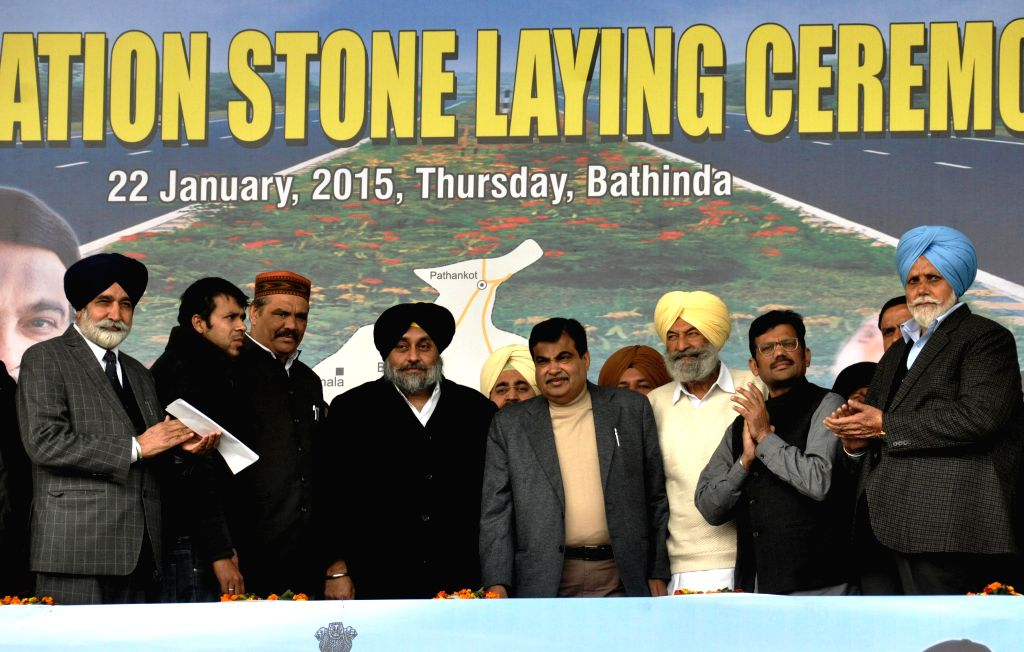 The Union Minister for Road Transport and Highways, and Shipping Nitin Gadkari with Punjab Deputy Chief Minister Sukhbir Singh Badal and others during the foundation stone laying programme .