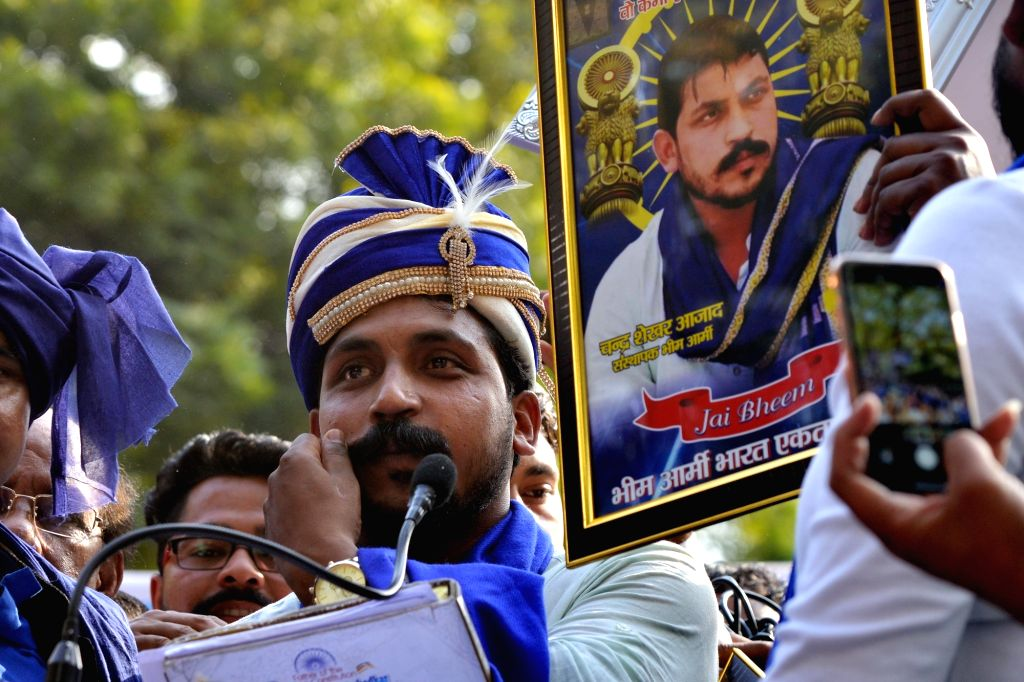Bhim Army chief Chandrasekhar Azad addresses during a sit-in demonstration at Jantar Mantar in New Delhi, on March 15, 2019.