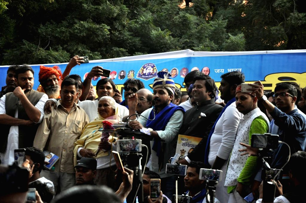 Bhim Army chief Chandrasekhar Azad addresses at a sit-in demonstration, in New Delhi, on March 15, 2019.