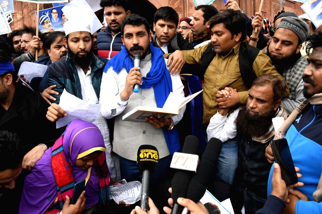 Bhim Army Chief Chandrasekhar Azad addresses protesters during a demonstration against the Citizenship Amendment Act (CAA) 2019. (Photo: IANS)