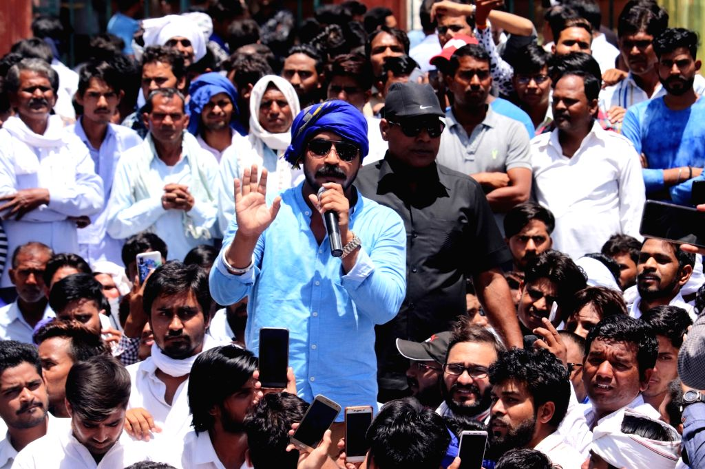 Bhim Army chief Chandrashekhar Azad Ravan addresses during a demonstration against Alwar gang rape, in Jaipur on May 10, 2019.