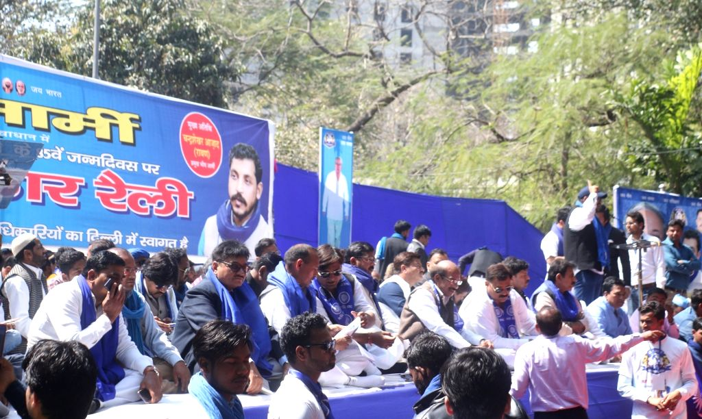 Bhim Army members participate in a sit-in demonstration at Jantar Mantar in New Delhi, on March 15, 2019.