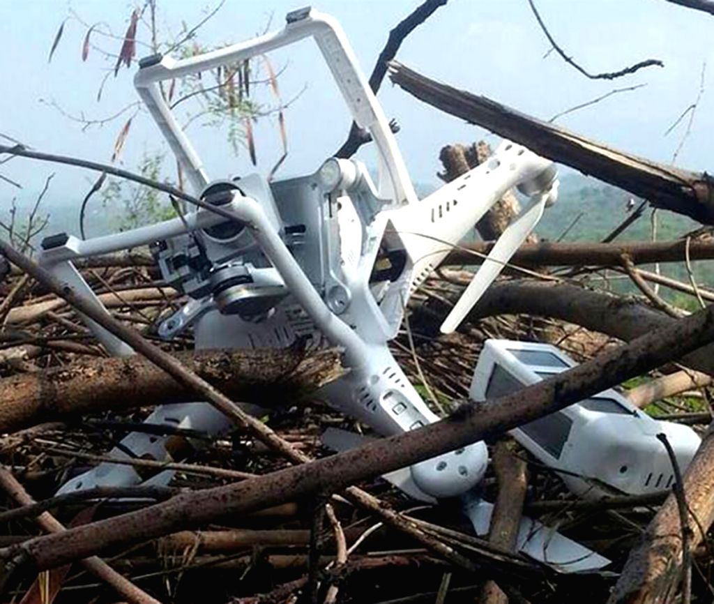 BHIMBER, July 16, 2015 (Xinhua) -- The handout photograph released by Pakistan's Inter Services Public Relations (ISPR) on July 15, 2015 purportedly shows the wreckage of a small lightweight model drone of a type widely available for commercial purch