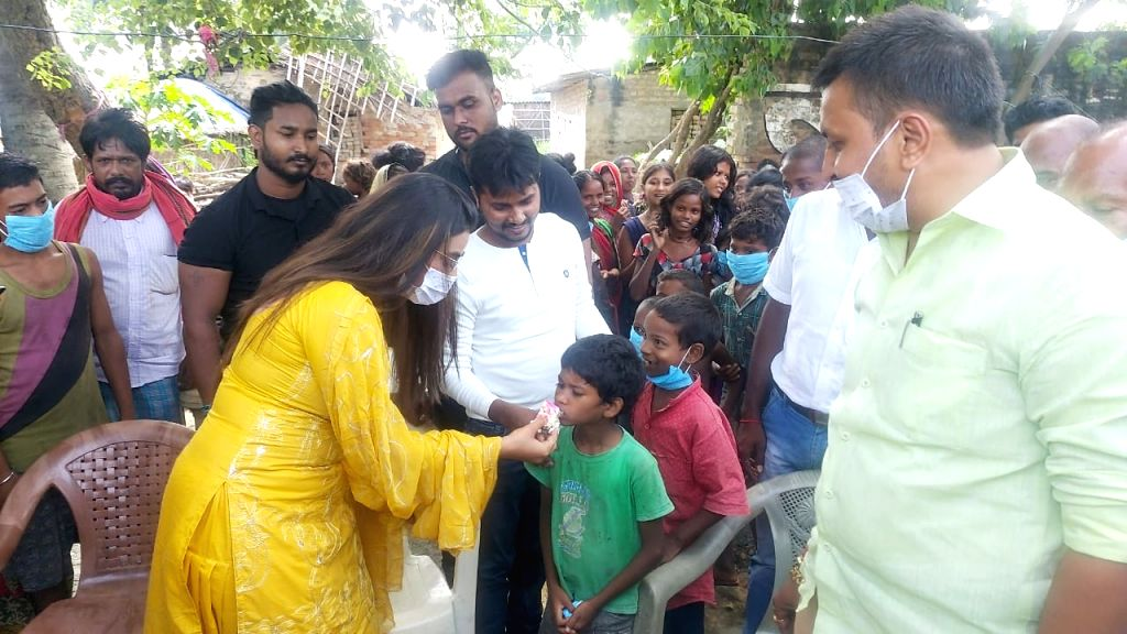 Bhojpuri superstar Akshara Singh took on the responsibility of education of a child on her birthday, in Patna on August 30, 2020. - Akshara Singh
