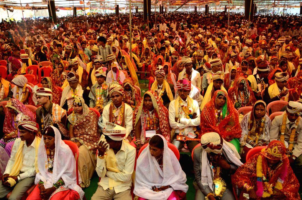A mass marriage ceremony underway on Akshaya Tritiya, in Bhopal on April 21, 2015.