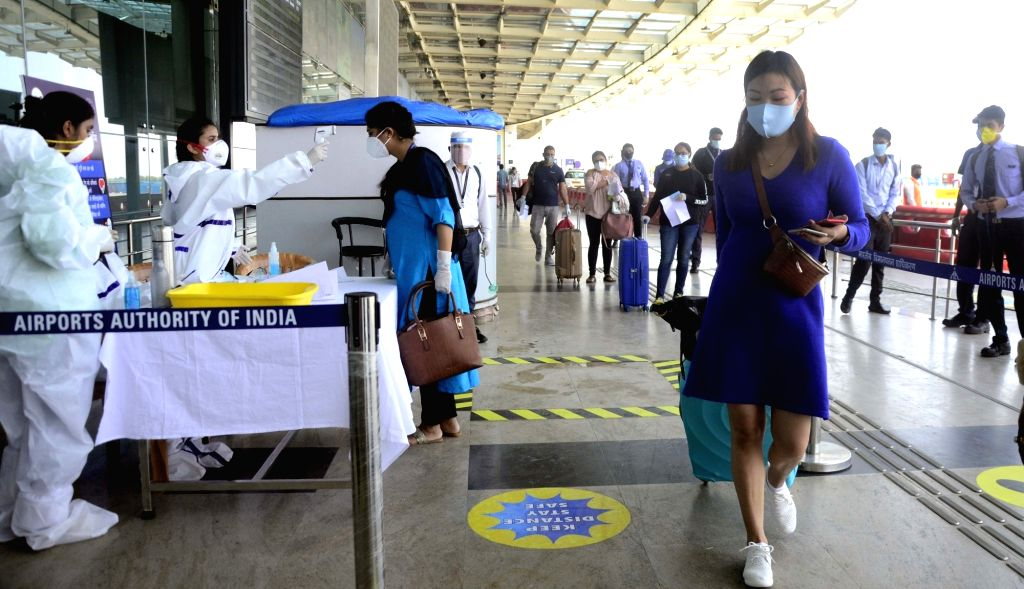 Bhopal: A passenger being screened for COVID-19 on her arrival at the Raja Bhoj Airport in Bhopal after India resumed civil passenger flight services on Monday, exactly two-months after it had suspended these operations due to the outbreak of Covid-1