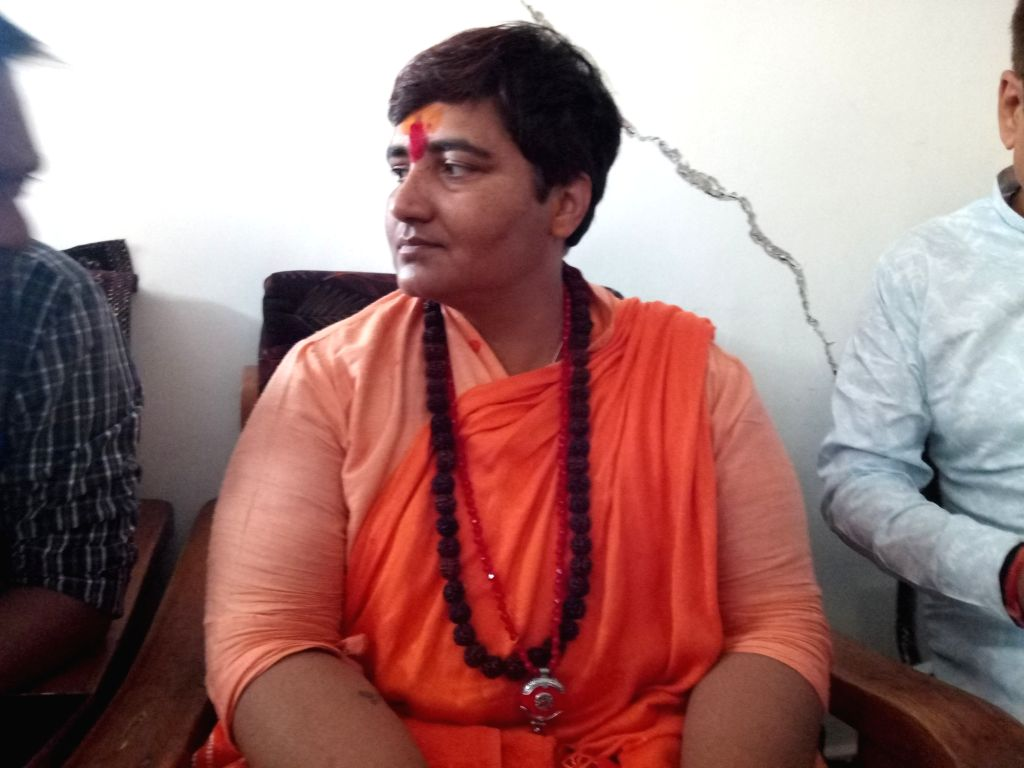 Bhopal: BJP's candidate from Bhopal, Sadhvi Pragya Singh Thakur during an interactive session after Election Commission's 72 hour campaign ban on her that ended Sunday, in Bhopal, on May 5, 2019. (Photo: IANS)